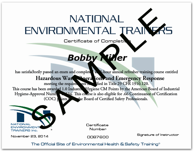 Sample Certificate from National Environmental Trainers