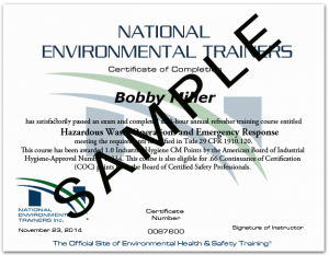 Sample Wallet Size Certificate from National Environmental Trainers