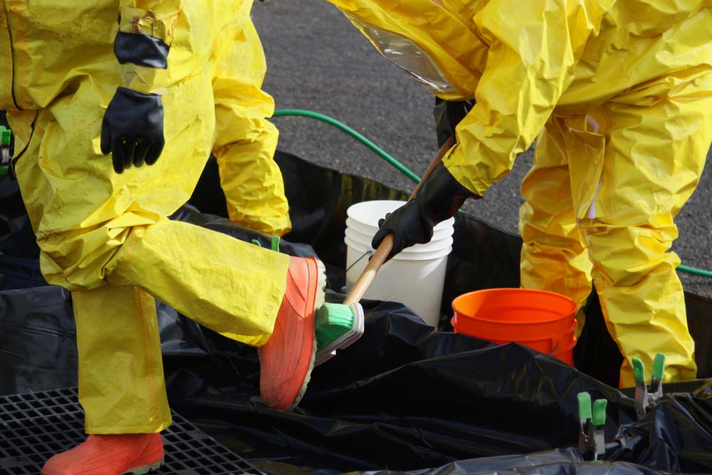 Decontamination practices at a HAZWOPER site.