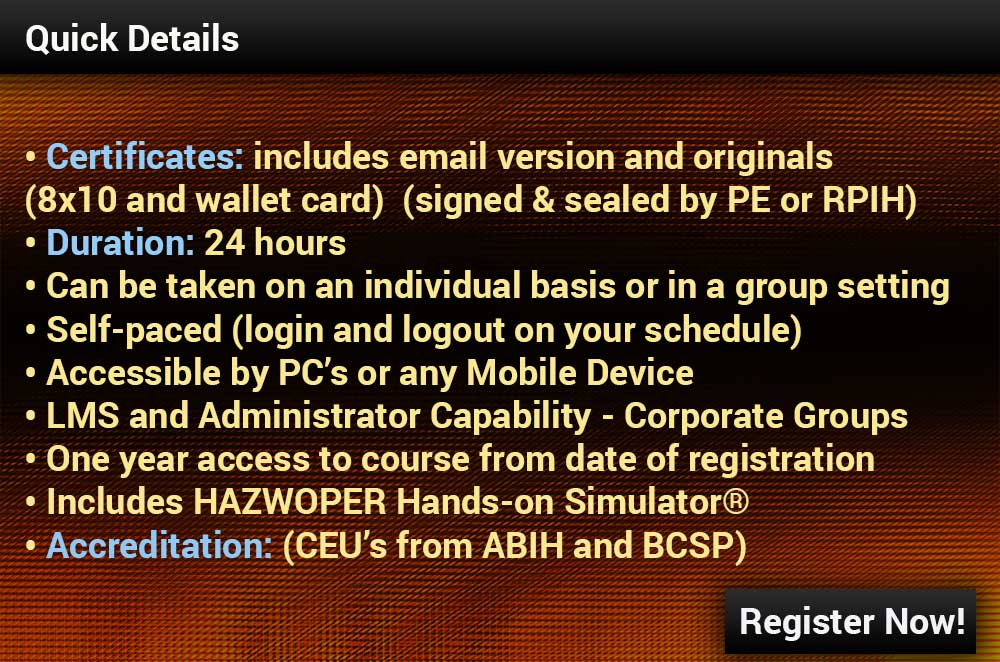 hazwoper 24 registration